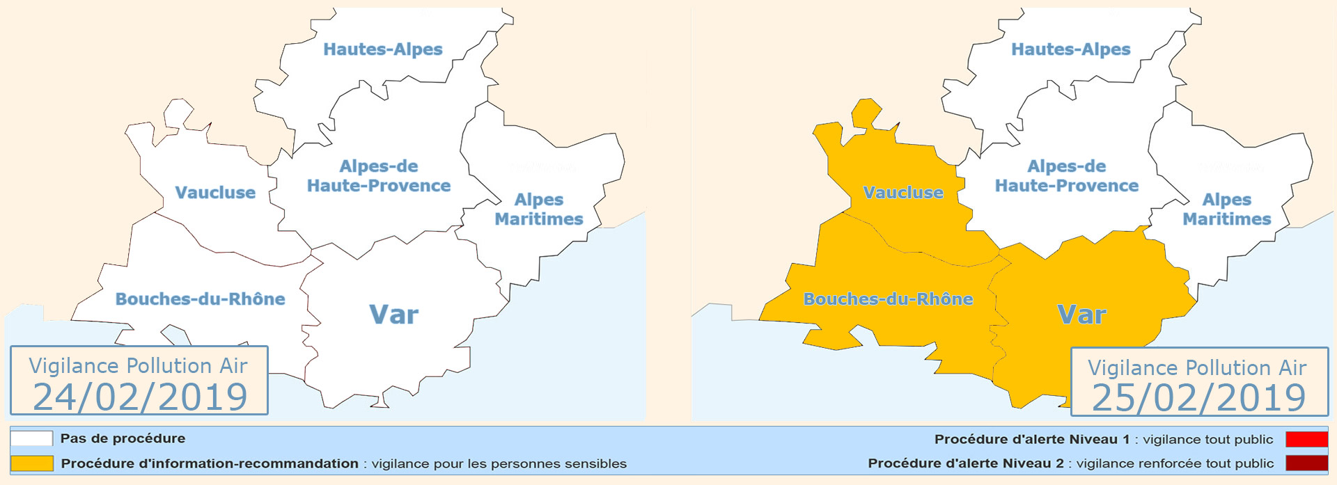 Var: Vigilance Pollution pour le 25/02/2019 -