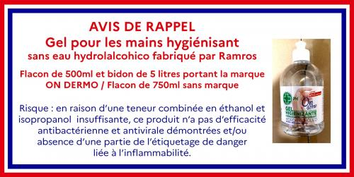 Attention: Avis de Rappel d'un Gel pour les Mains hygiénisant de Marque