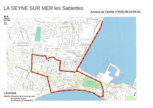 Le Port du Masque obligatoire au Centre-Ville de La Seyne-sur-Mer et aux Sablettes, à partir du 15/09/2020 -